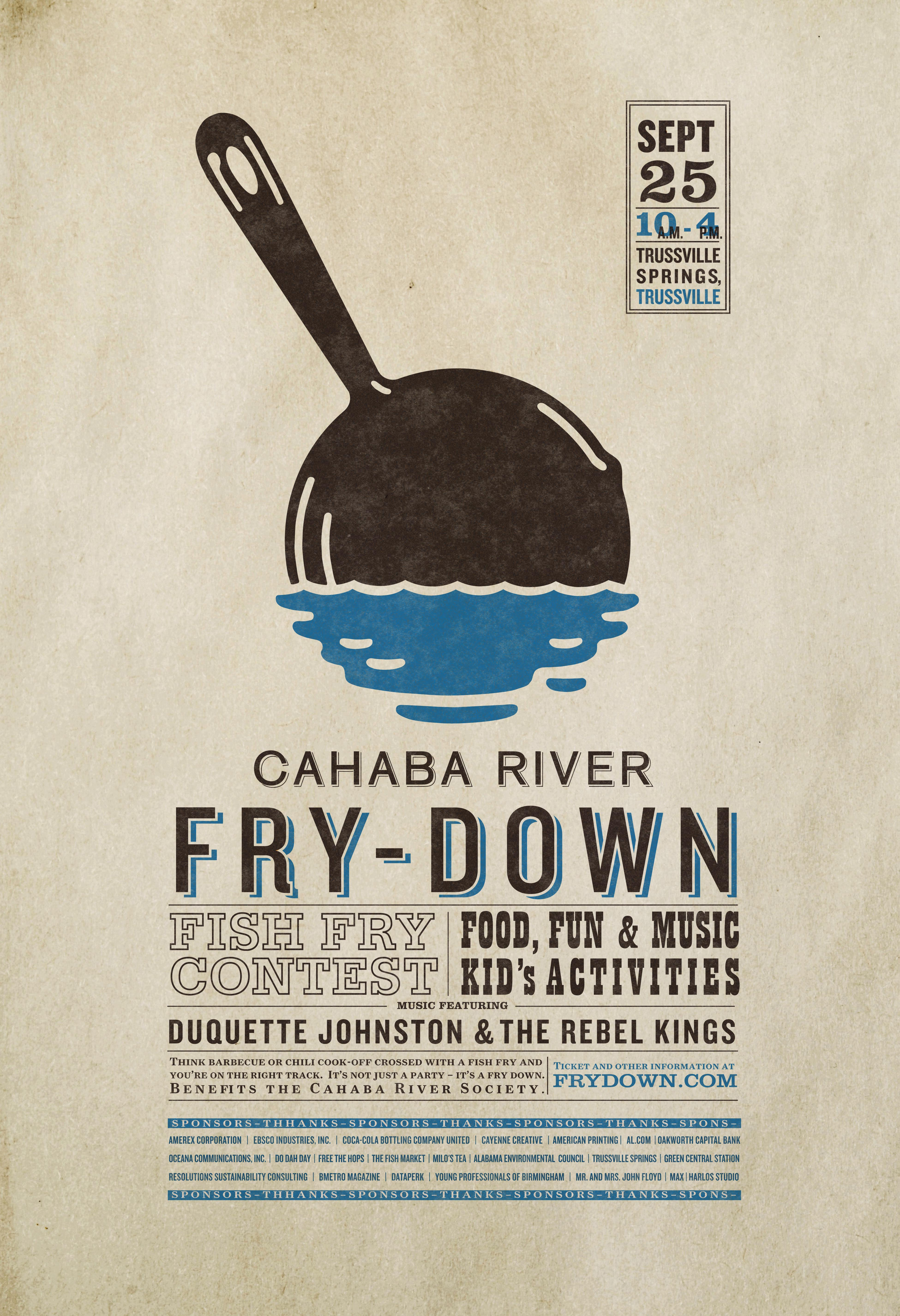 Poster design for Cahaba River Fry-Down featuring logo design